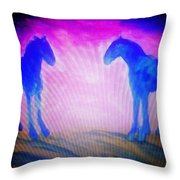 The Horses Were Playing The Blues Whole Night  Throw Pillow