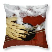 Playing The Cold Blues Throw Pillow