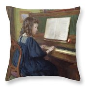Playing The Piano Throw Pillow