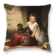 Playing With Friends Circa 1850 Throw Pillow