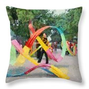 Playing With The Ribbons Throw Pillow