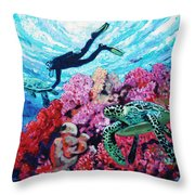 Playing With The Sea Turtles Throw Pillow