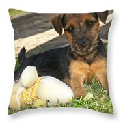 Playmates - Puppy With Toy Throw Pillow