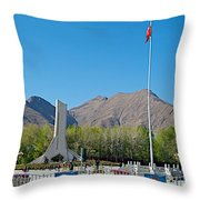 Plaza Across From Potala Palace Which Replaced A Natural Lake-tibet Throw Pillow