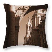 Plaza De Armas   Arequipa    Peru - Sepia Throw Pillow