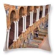 Plaza De Espana Colonnade In Seville Throw Pillow