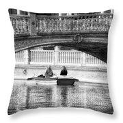 Plaza De Espana Rowboats Bw Throw Pillow