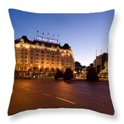 Plaza De Neptuno And Palace Hotel Throw Pillow