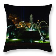 Plaza Fountain Throw Pillow