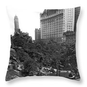 Plaza Hotel From Central Park Throw Pillow