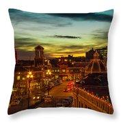 Plaza Lights At Sunset Throw Pillow