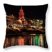 Plaza Time Tower Night Reflection Throw Pillow