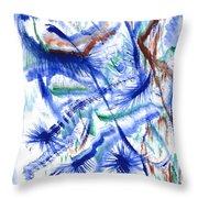 Plume Bleues Throw Pillow