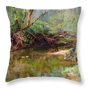 Pleasure Of  The Enchanted Wolf Throw Pillow