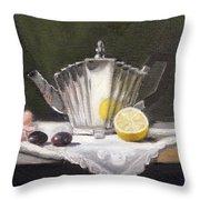 Pleated Teapot With Lemon Throw Pillow