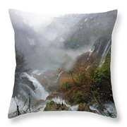 Plitvice Lakes In Winter 4 Throw Pillow