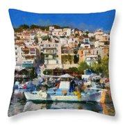 Plomari Town Throw Pillow