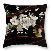 Plum Blossoms And Anna's Hummingbird Throw Pillow
