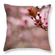 Plum Flower On Branch - Spring Concept Throw Pillow