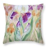 Plum Pudding Iris Throw Pillow