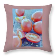 Plum Tomatoes On A Wooden Board Throw Pillow by Romulo Yanes