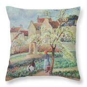 Plum Trees In Flower Throw Pillow