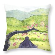Plumb Blossom Love Throw Pillow by Lilibeth Andre