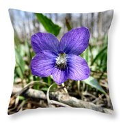 Plumb Wildflowers Throw Pillow