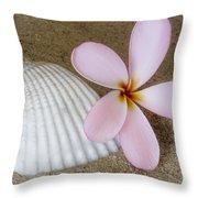 Plumeria Flower And Sea Shell Throw Pillow