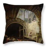 Plundering The Royal Vaults At St. Denis In October 1793 Oil On Canvas Throw Pillow