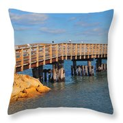 Plymouth Harbor Breakwater Throw Pillow by Catherine Reusch  Daley