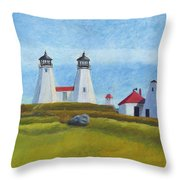 Plymouth Light Station Before 1924 Throw Pillow