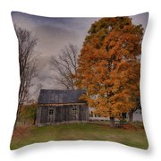 Plymouth Notch Barn In The Fall Throw Pillow