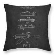 Pocket Knife Patent Drawing From 1886 - Dark Throw Pillow