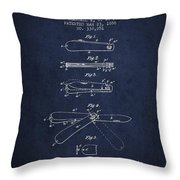 Pocket Knife Patent Drawing From 1886 - Navy Blue Throw Pillow