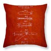Pocket Knife Patent Drawing From 1886 - Red Throw Pillow