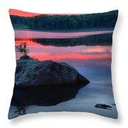 Poconos Lake Whitney Sunset Silhouette Throw Pillow