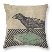Poe And The Crow Throw Pillow