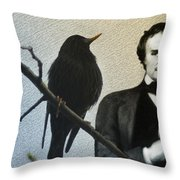 Poe And The Raven Throw Pillow