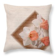 Poem Of Peach Daffodils Throw Pillow