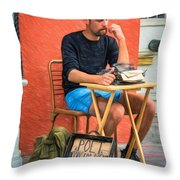 Poet For Hire - Paint Throw Pillow