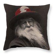 Poet Walt Whitman George Collins Cox Photo 1887-2010 Throw Pillow