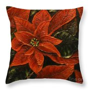 Poinsettia 2 Throw Pillow by Elena  Constantinescu