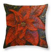 Poinsettia/ Christmass Flower Throw Pillow