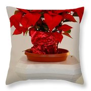Poinsettia On A Pedestal No 1 Throw Pillow