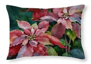 Poinsettia Pair Throw Pillow