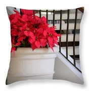 Poinsettias By The Stairway Throw Pillow