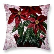 Poinsettias Expressive Brushstrokes Throw Pillow