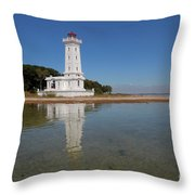 Point Abino Lighthouse Reflection Throw Pillow