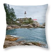 Point Atkinson Lighthouse And Rocky Shore Throw Pillow